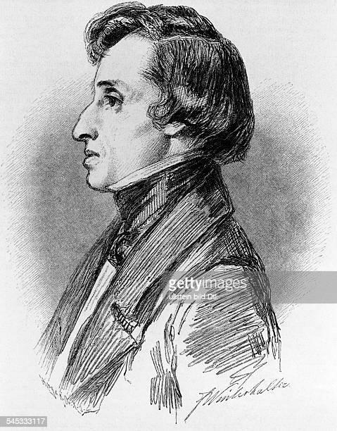 Chopin Frederic *2202181017101849 Musiker Komponist Pianist Polen Holzstich n e Zeichnung von Winterthaler undatiert