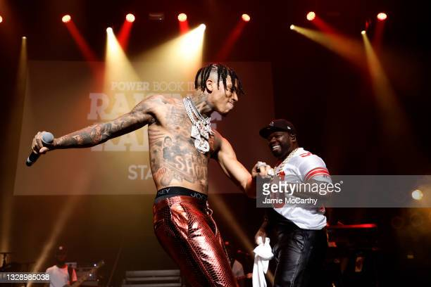 Choppa and 50 Cent perform onstage during the 'Power Book III: Raising Kanan' global premiere event and screening at Hammerstein Ballroom on July 15,...