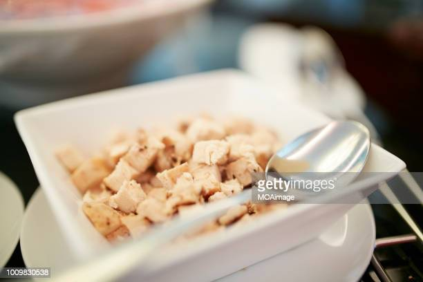 chopped chicken breast - pared stock pictures, royalty-free photos & images