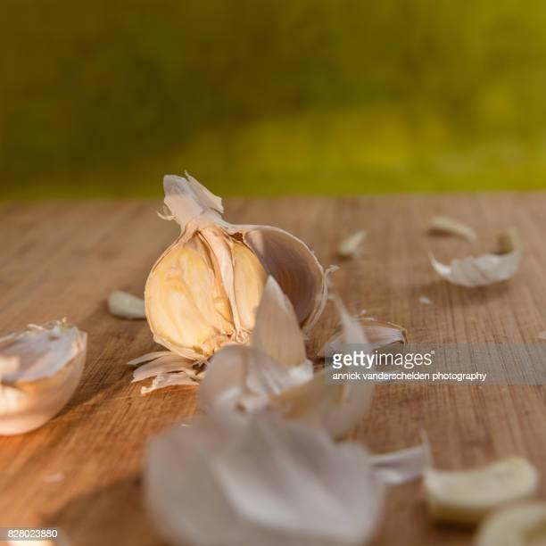 Chopped garlic bulb.