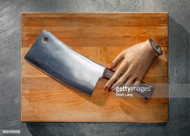 Chopped Hand with Meat Cleaver