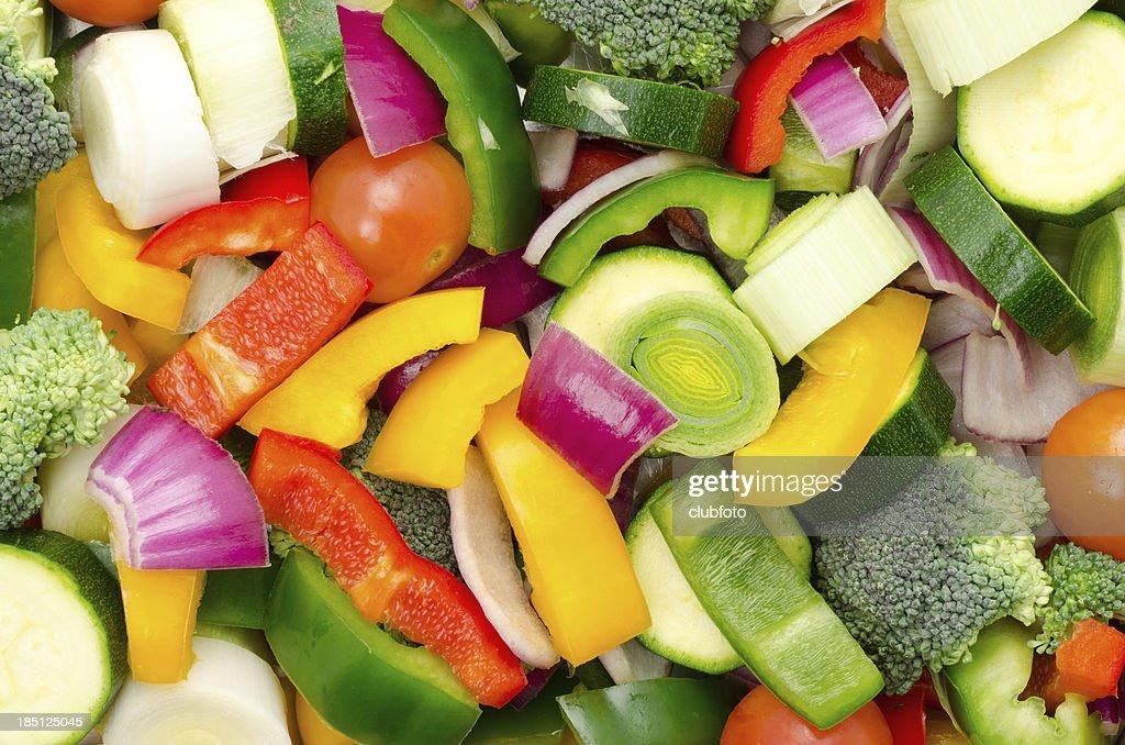 Chopped mixed raw vegetable background : Stock Photo