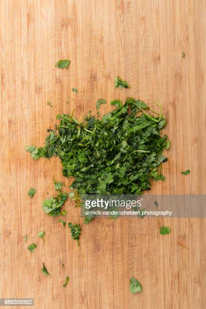 chopped parsley. - parsley stock pictures, royalty-free photos & images