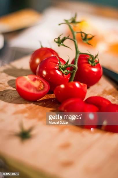 Chopped tomatoes on cutting board