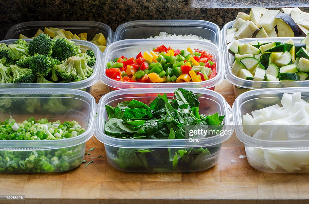 chopped vegetables in plastic containers : Stock Photo