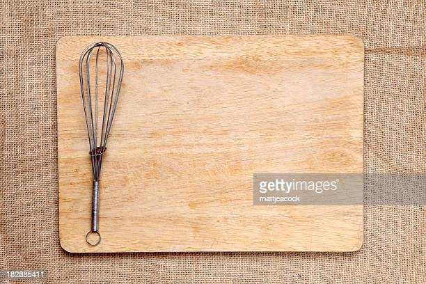 Chopping board and whisk