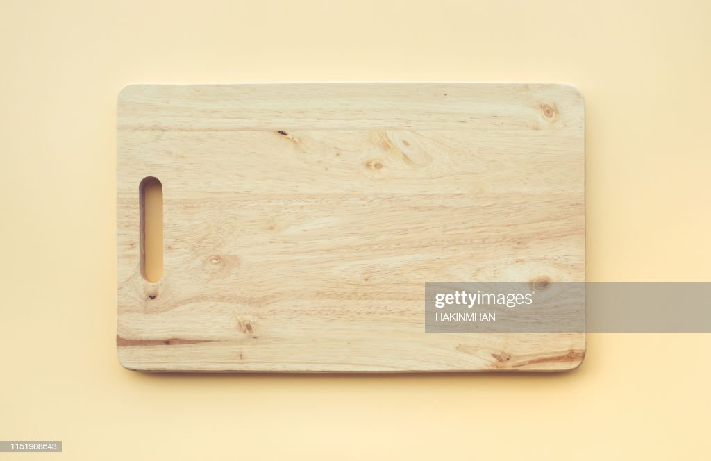 Chopping board wooden on pastel color : Stock Photo