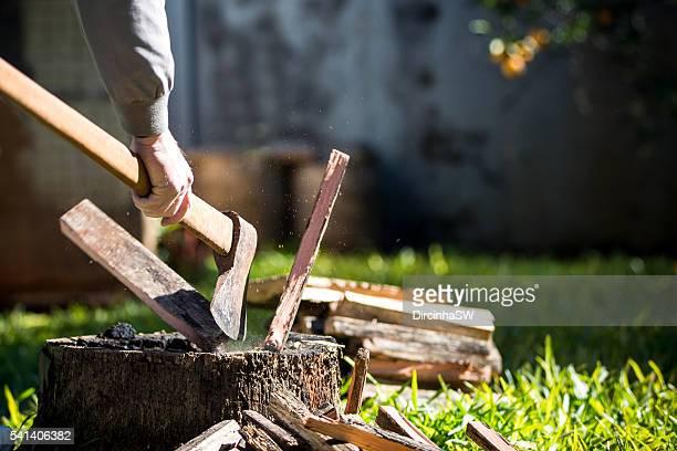 Chopping firewood.