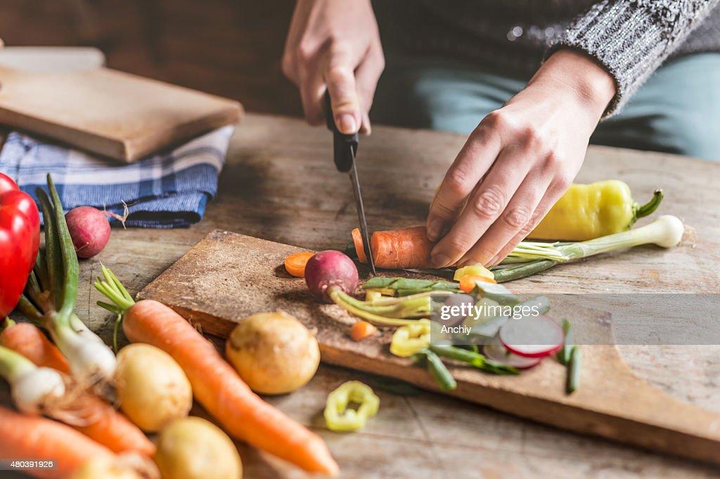 Chopping food ingredients : Stock Photo