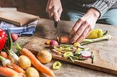 Chopping food ingredients