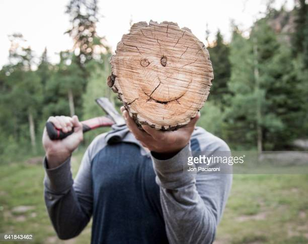 chopping wood makes any man happy - sublingual stock pictures, royalty-free photos & images