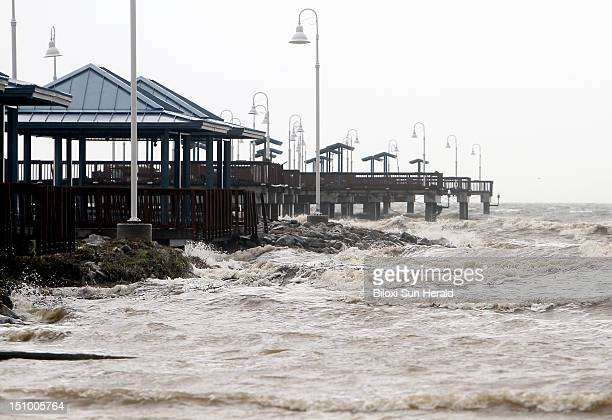 Choppy water crashes along the Garfield Ladnear Pier in Waveland Mississippi on Thursday August 30 as Tropical Storm Isaac moves along coast