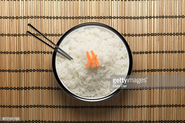 Chopsticks in bowl of white rice
