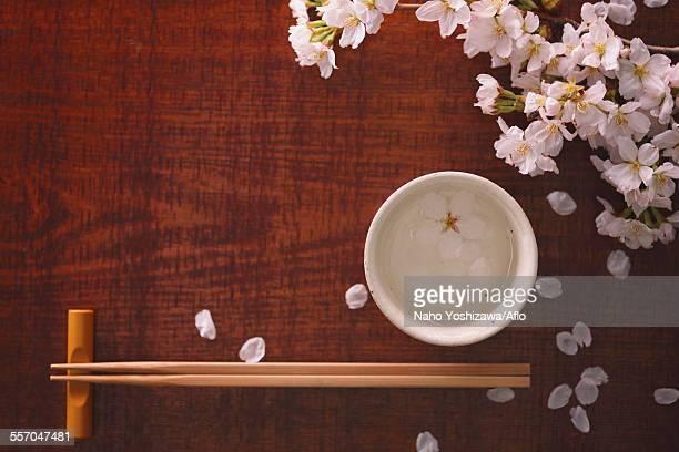 Chopsticks sake and cherry blossoms