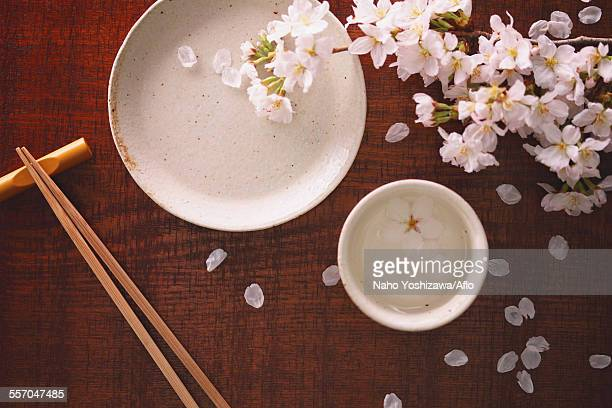 Chopsticks sake and cherry blossoms
