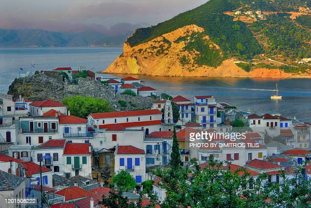 chora of skopelos and its castle - dimitrios tilis stock pictures, royalty-free photos & images