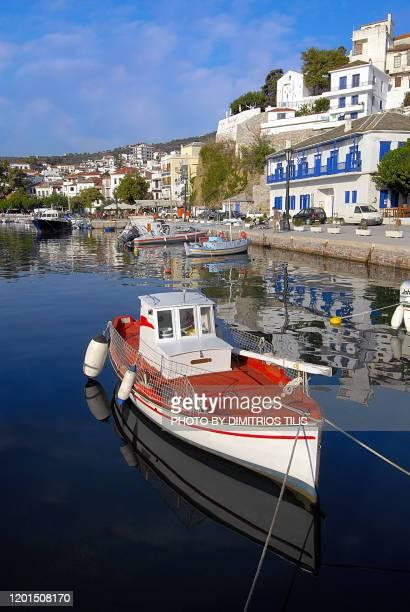 chora's port at skopelos 2 - dimitrios tilis stock pictures, royalty-free photos & images