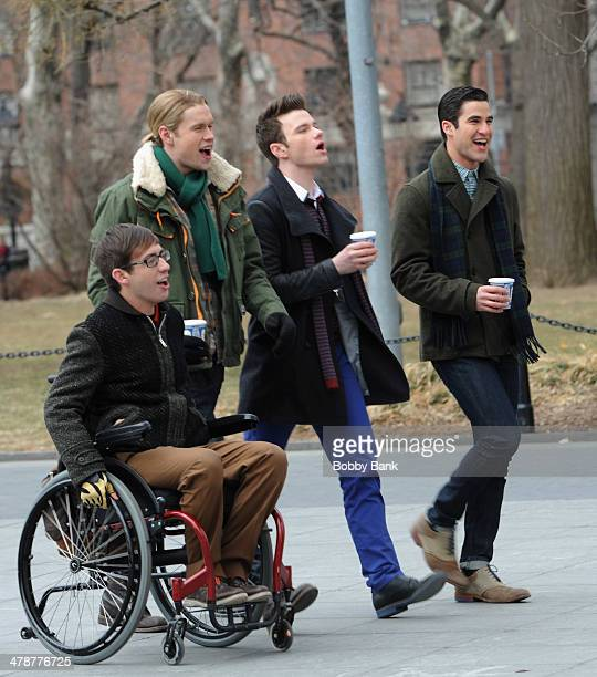 Chord Overstreet Kevin McHale Darren Chris and Chris Colfer on the set of 'Glee' at Washington Square Park on March 14 2014 in New York City