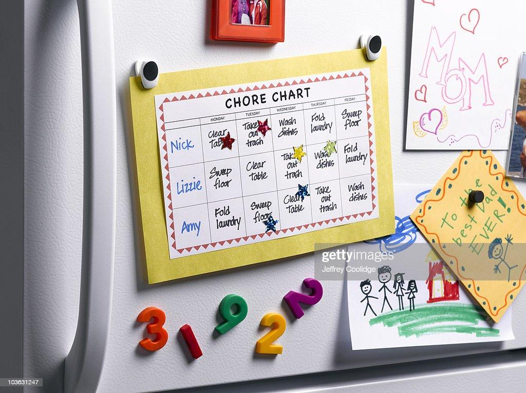 Chore Chart on Refrigerator : Stock Photo
