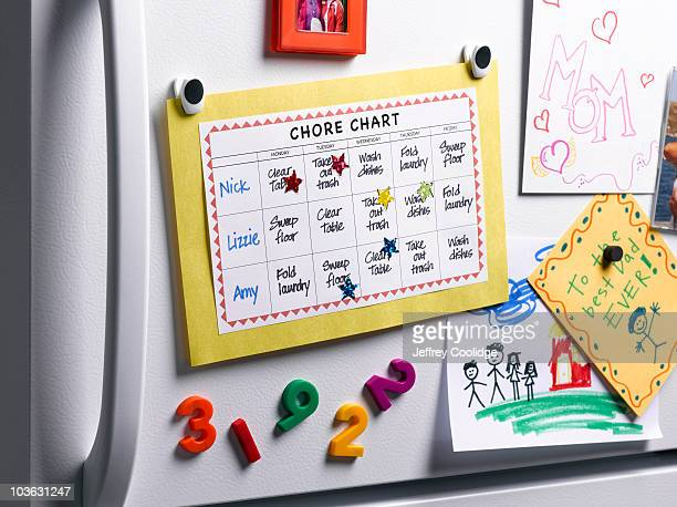 chore chart on refrigerator - to do list stock pictures, royalty-free photos & images