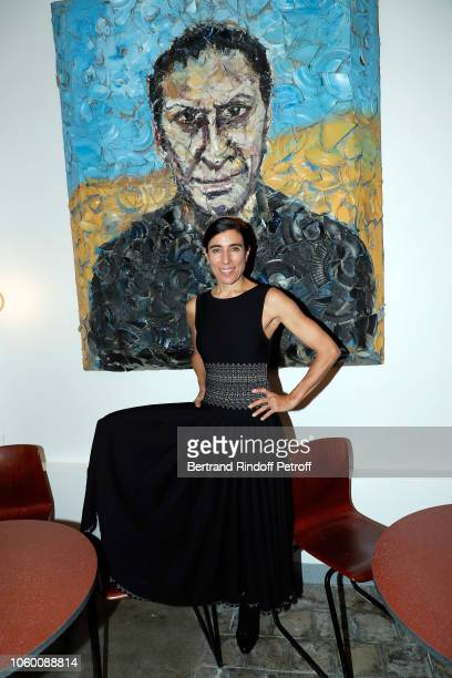 Choregrapher Bianca Li poses in front of Portrait of Azzedine Alaia by Julian Schnabel during Alaia Foundation Library Opening at Galery Azzedine...