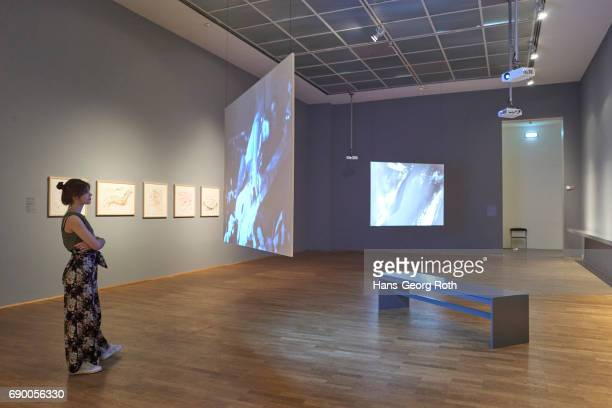 'Choregraphy and Performances 1962 1977' seen during the 'Carolee Schneemann Kinetische Malerei' exhibition preview at Museum fuer Moderne Kunst on...
