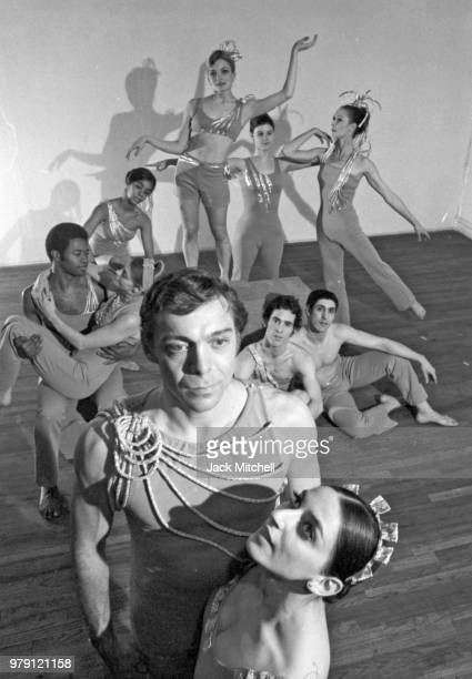 Choreographer and company founder Paul Taylor and company performing his ballet 'Foreign Exchange' in a setting by artist Alex Katz in April 1970
