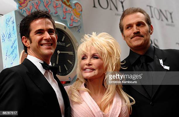 Choreographer Andy Blakenbuehler Dolly Parton and Marc Kudisch attend the 63rd Annual Tony Awards at Radio City Music Hall on June 7 2009 in New York...