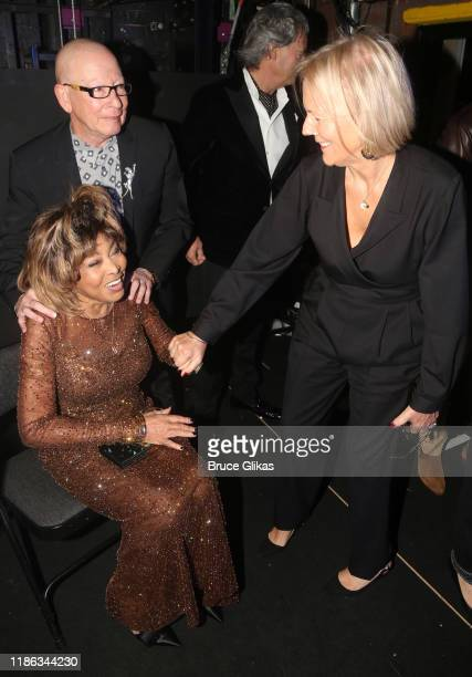 "Choreographer Anthony Van Laast, Tina Turner, husband Erwin Bach and Director Phyllida Lloyd backstage at the opening night of ""Tina - The Tina..."