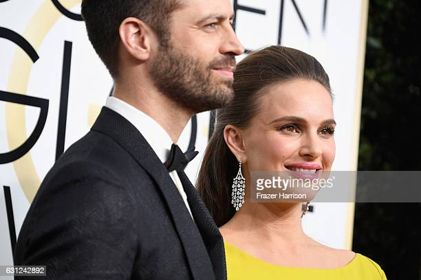 Choreographer Benjamin Millepied and actress Natalie Portman attend the 74th Annual Golden Globe Awards at The Beverly Hilton Hotel on January 8 2017...