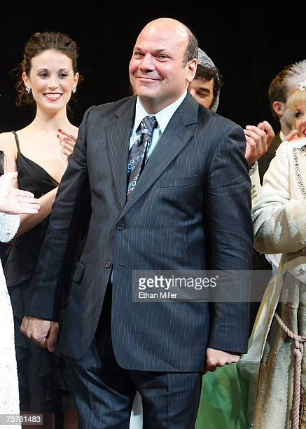 Choreographer Casey Nicholaw smiles during the curtain call of the premiere of 'Monty Python's Spamalot' at The Grail Theater at the Wynn Las Vegas...