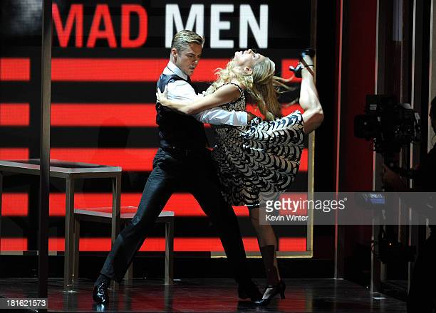 Choreographer Derek Hough performs onstage during the 65th Annual Primetime Emmy Awards held at Nokia Theatre LA Live on September 22 2013 in Los...