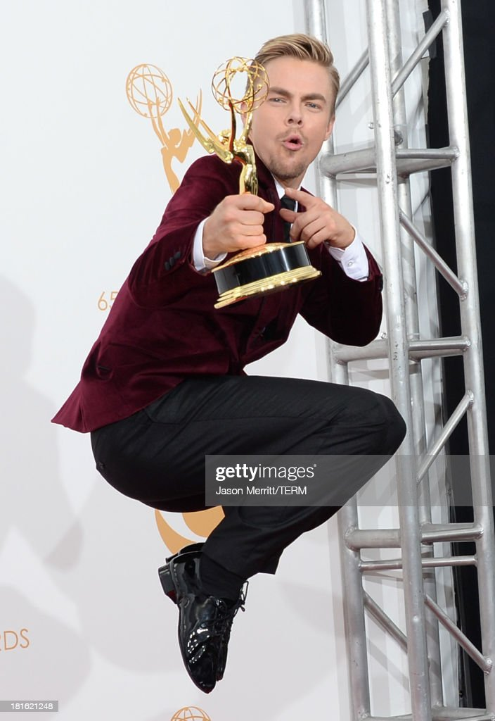 Choreographer Derek Hough, winner of the Best Choreography Award for 'Dancing With The Stars' poses in the press room during the 65th Annual Primetime Emmy Awards held at Nokia Theatre L.A. Live on September 22, 2013 in Los Angeles, California.