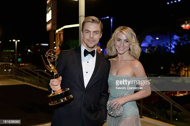 Choreographer Derek Hough, winner of the Best Choreography Award for 'Dancing With The Stars,' and actress Julianne Hough attends the Governors Ball...
