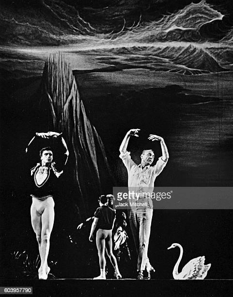 Choreographer George Balanchine coaching dancer Edward Villella in Swan Lake 1964