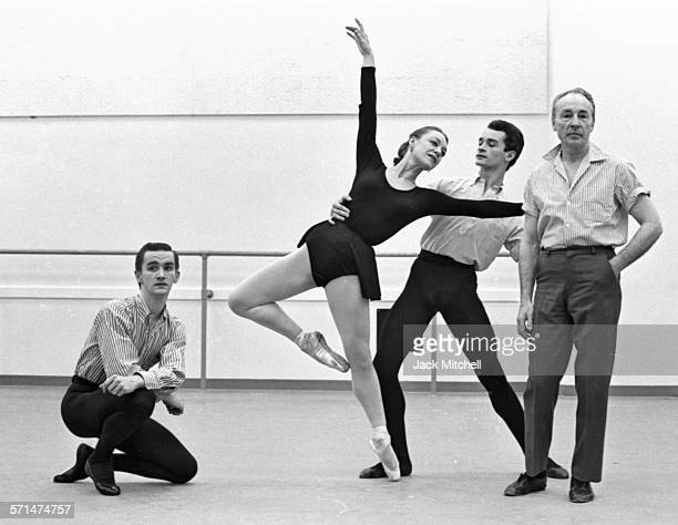 Choreographer George Balanchine leading a rehearsal of the Pennsylvania Ballet in April 1964