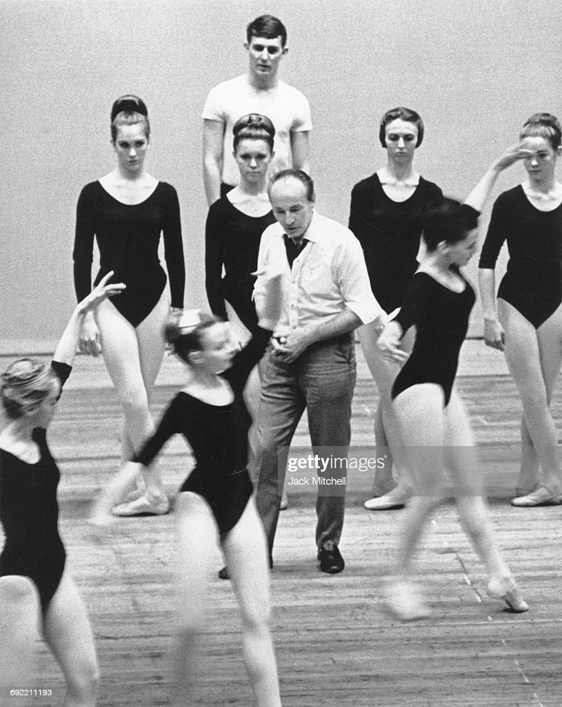 Choreographer George Balanchine with dancers at the Southeast Regional Ballet Festival in Memphis, Tennessee in April 1965.