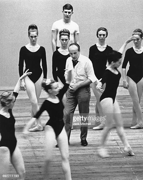 Choreographer George Balanchine with dancers at the Southeast Regional Ballet Festival in Memphis Tennessee in April 1965