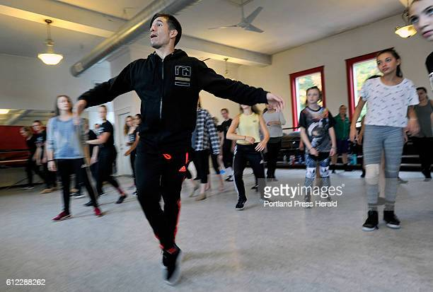 Choreographer Jon Rua demonstrates a move during a dance class at the Dance Studio of Maine in Gorham Saturday, October 1, 2016.