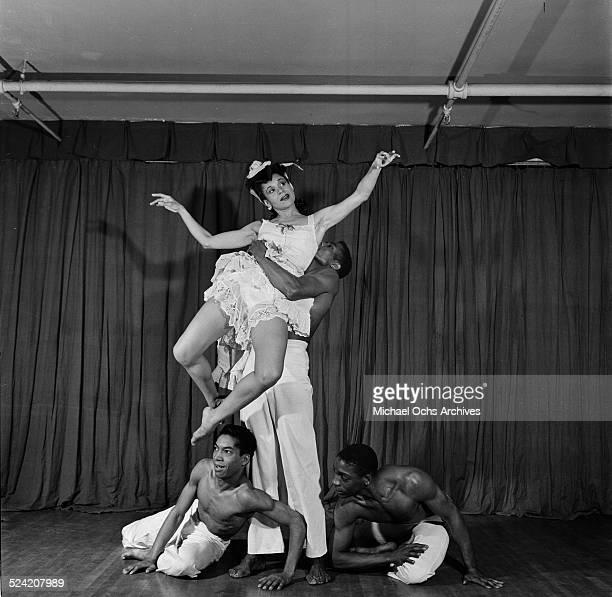 Choreographer Katherine Dunham performs a dance routine