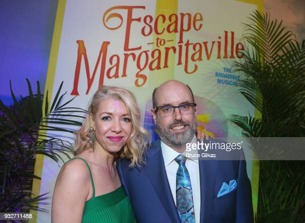 Choreographer Kelly Devine and Director Christopher Ashley pose at the Opening Night of The Jimmy Buffett Musical 'Escape To Margaritaville' on...