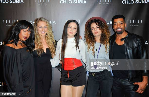 Choreographer Kiira Harper dancer Alex Clark recording artist Chlo Subia dancer Liz LeGrande and manager Joey Harris attend Chlo Subia's video and...