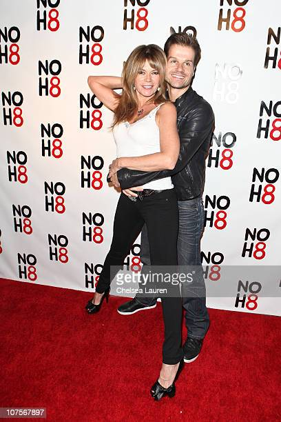 Choreographer Louis Van Amstel and actress MaryMargaret Humes arrive at the NOH8 campaign 2nd anniversary celebration at Wonderland on December 13...