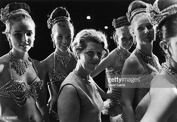 Choreographer Margaret Kelly with members of her dance troupe the Bluebell Girls during rehearsals at the London Palladium June 1967