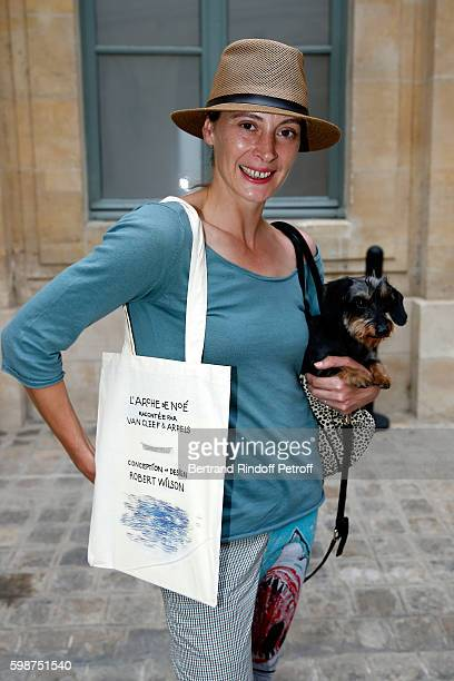 "Choreographer Marie-Agnes Gillot and her dog attend the Presentation of the new Van Cleef & Arpels Collection : ""L'Arche de Noe racontee par Van..."