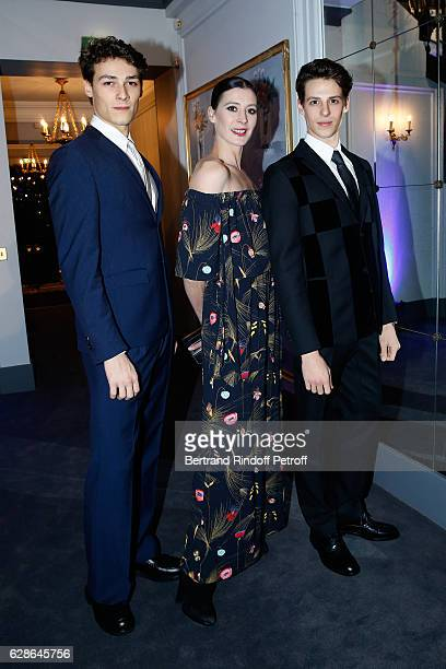 Choreographer MarieAgnes Gillot standing between star dancers Hugo Marchand and Germain Louvet attend the Annual Charity Dinner hosted by the AEM...
