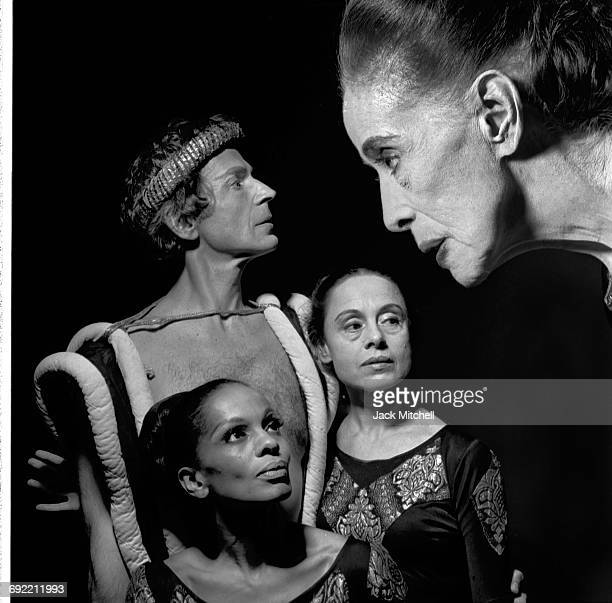 Choreographer Martha Graham with the cast of her modern ballet based on the Greek legend Clytemnestra photograped in New York City in April 1973