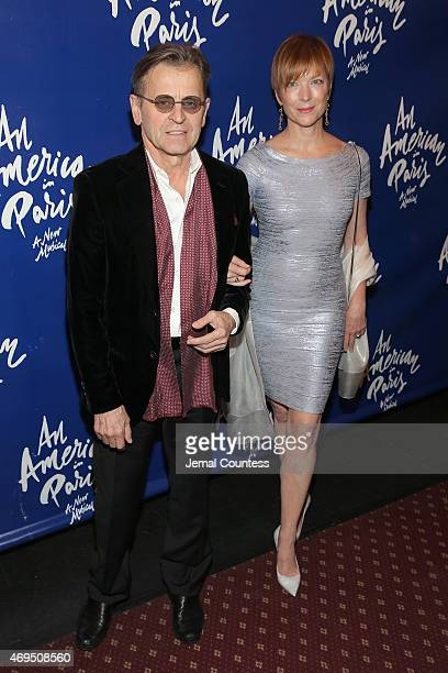 Choreographer Mikhail Baryshnikov and former ballerina Lisa Rinehart attend An American In Paris Broadway opening night at Palace Theatre on April 12...