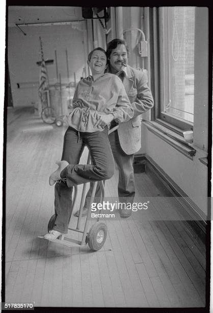 Choreographer Patricia Birch gets a free ride backstage at the Winter Garden Theater from Chicano playwrightdirector Luis Valdez during the...
