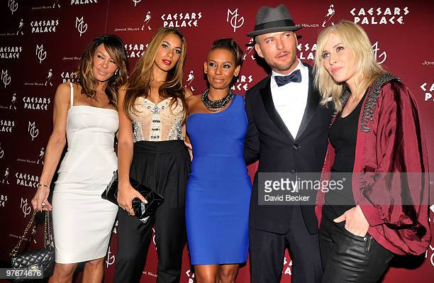 Choreographer Robin Antin singers Leona Lewis Melanie Brown Matt Goss and Natasha Bedingfield arrive at the grand opening of Goss's new show 'Matt...